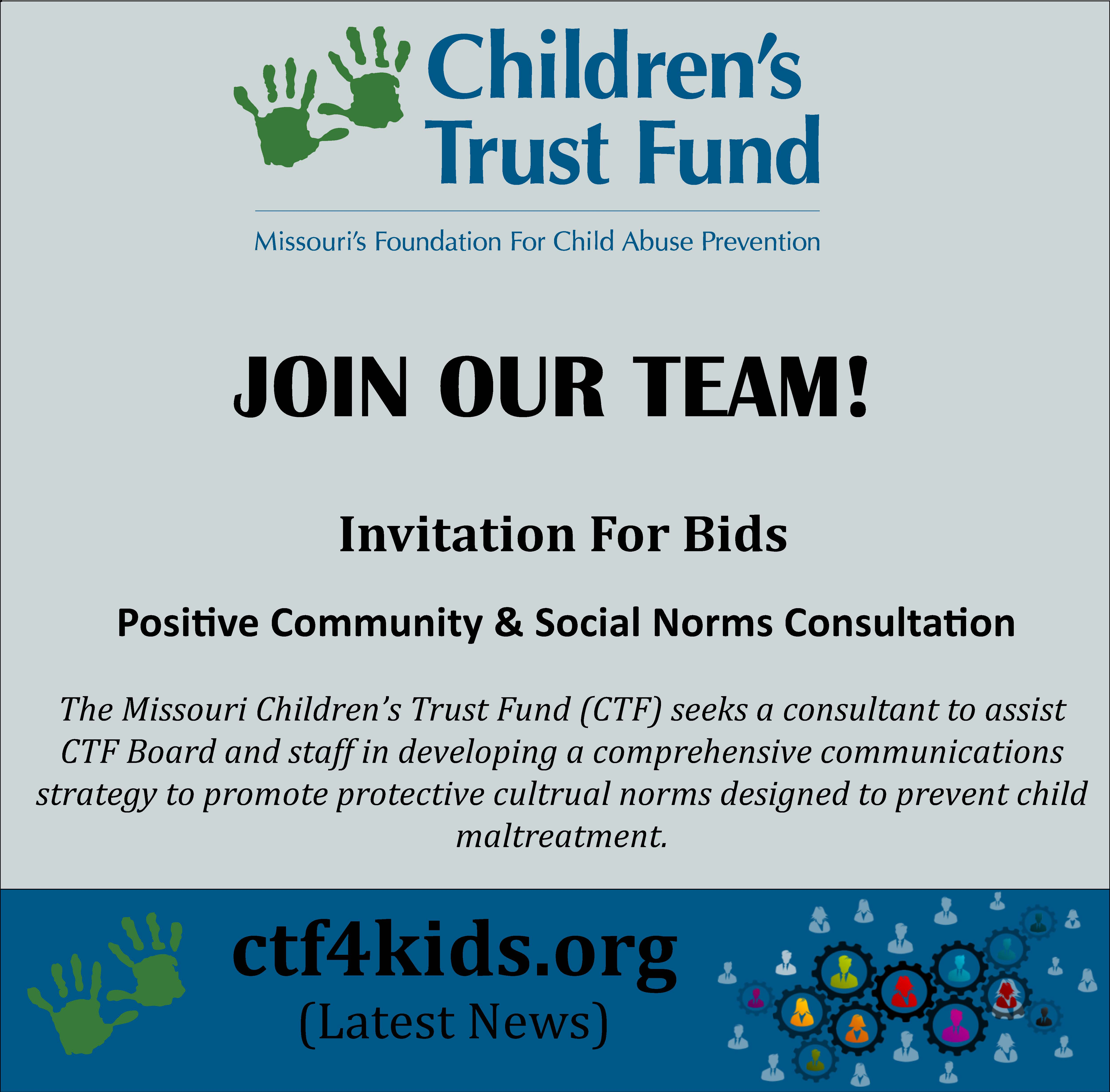INVITATION for BIDS – Positive Community and Social Norms Consultation